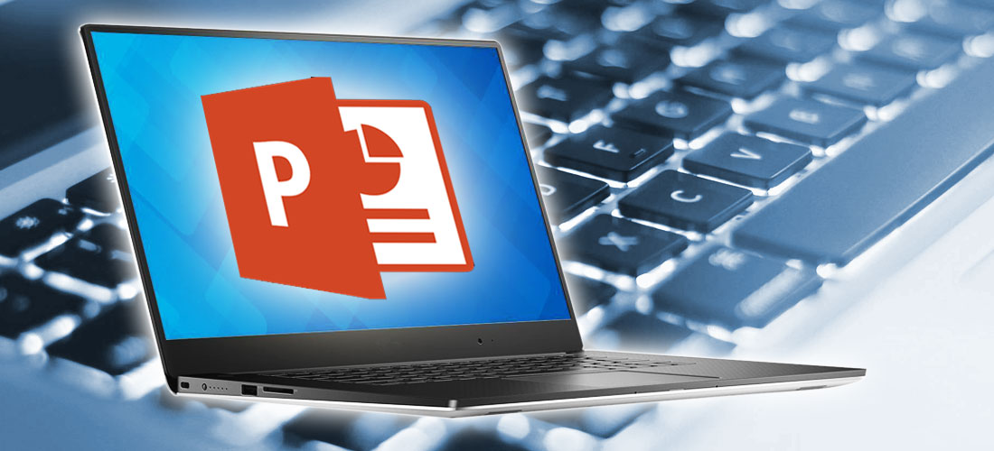 image of Powerpoint logo on laptop in front of keyboard